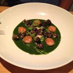 escargot with garlic and spinach purée