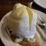Olallieberry cobbler with ice cream