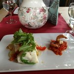 Cod with potato gratin and tomato shrimp