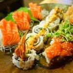 Salmon sushimi, volcano roll & my best friend roll