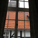 Hotel Drei Kronen; view from bed to the noisy church bell tower