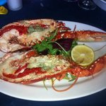 whole hot lobster with garlic butter