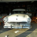 The garage with an antique car