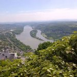 View from Drachenfels onto the Rhine, Nonnenwerth island