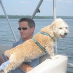 Enjoying the lake on the pontoon! Pets are welcome!