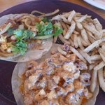 Seafood tacos and french fries