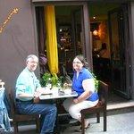 Sidewalk table outside the restaurant