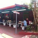 The outdoor eating area at La Nueva Pachanga