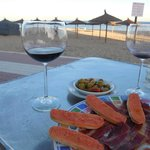 tapas at the beach at nearby restaurant