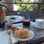 Breakfast on terrace, right next to my room