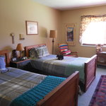 Bears Den with two twin beds and half bath.