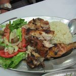 BBQ chicken with salad and rice