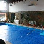 Inside Swimming pool. In the corner: door to the sauna