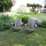 in front of the cottage, a great place to read and enjoy a glass of wine