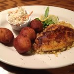 Red Snapper, blackened with slaw and hush puppies