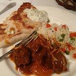 Garlic Naan, Raita, Lamb Kolhapuri, Basmati Rice
