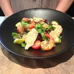entree Salade de gambas et blanc de dinde au sesame, pomelos et Granny