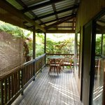 private lanai in the rainforest, with breakfast table