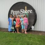 Our group in front of the Penn Shore Winery sign