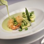 Creamy vegetable soup with prawn