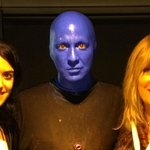 Wife and daughter with a 'Blue Man'