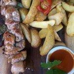 chicken shashlik with potato wedges