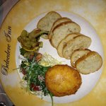 Fried goat cheese with grilled vegetables