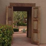 Passageway from patio to cactus garden