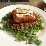 Salmone di Potate - Potato Crusted Salmon Lemon Caper Aioli Farro Verde $24