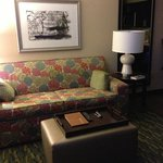 Comfortable seating. Convenient coffee table/ottoman combination. Excellent lighting.