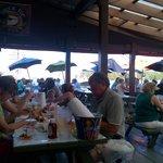 People enjoying crabs, etc.