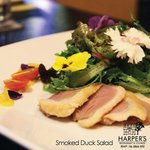 appetizer - smoke duck breast with season mix salad