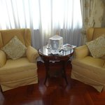 Sitting area with prosecco greeting