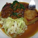 Possum & Pumpkin Stew, Potato Gratin & Cabbage - $18.50 and delicious!