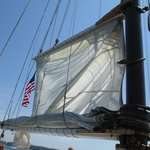 Hoisting the sails on Agia