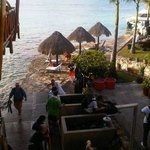 View from restaurant staircase to diving shop & gear cleaning area