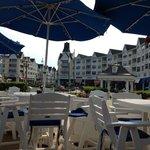Outdoor seating between boardwalk and beach
