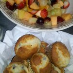 Morning greets our guests with fresh fruit and baked goodies