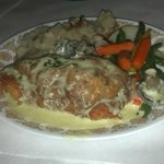 Alpine chicken with German potato salad and vegetables