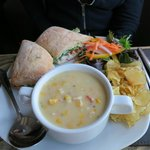 Soup and Chicken Sandwich