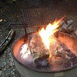 sitting around the camp fire.