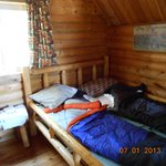 Inside Cabin 2.  Has a double and a bunk bed.