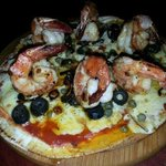 Shrimp Ajillo pizza...one of their specialities
