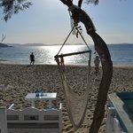 sunset at a beachside taverna just a short walk from Villa Naxia
