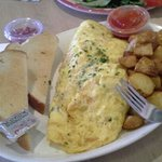 ham & cheese omelet with potatoes and toast