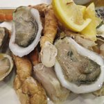 crab legs, oysters, and clams