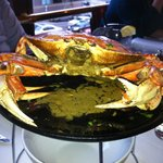 Whole dungeness crab roasted in garlic sauce