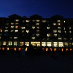 The hotel at night, taken on the beach.