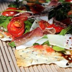 Parma ham flatbread at the Hazel Food Market