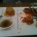 Tataki thon, tartare saumon et gambas